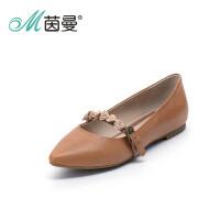 茵曼女鞋2015春季新品羊皮低尖头浅口花朵单鞋女