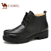 camel骆驼女靴 新款短靴牛皮系带短靴 简约休闲女士靴子