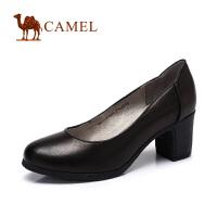 camel骆驼女鞋 2016春季新款通勤简约打蜡羊皮圆头高跟OL单鞋
