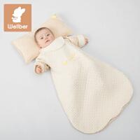 威尔贝鲁 宝宝睡袋春秋薄款 睡袋儿童防踢被子彩棉空气层婴儿睡袋