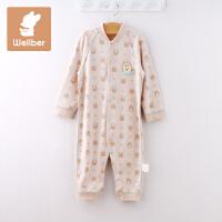 威尔贝鲁 婴儿衣服 纯棉新生儿连体衣春秋季 宝宝哈衣爬服0-3个月