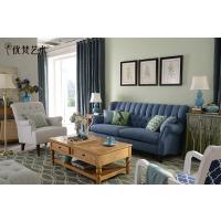 优梵艺术 新款欧式客厅布艺沙发 美式时尚拉扣三人位沙发