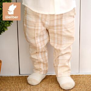 威尔贝鲁 2016新款纯棉格子儿童裤子 春秋男女宝宝婴儿休闲长裤