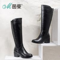 茵曼女鞋 2016冬季新品骑士靴加绒长筒高跟女靴时尚长靴子