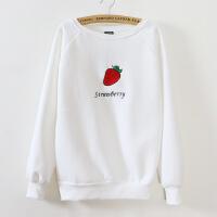 韩国新款 刺绣草莓图 女式圆领卫衣绒衫  B-704