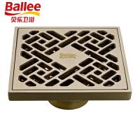 【货到付款】贝乐BALLEE T45 仿古铜色地漏 全铜防臭地漏 欧式仿古砖
