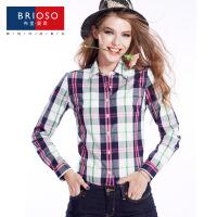 BRIOSO 2017春装新款女式纯棉长袖格子衬衫 基础百搭韩版时尚修身长袖衬衫 大码女装衬衣 WE2395