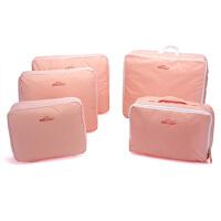 卡秀 韩版旅行包中包整理包/收纳袋-粉色(五件套)