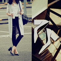 欧美大牌白色高跟鞋尖头粗跟浅口女单鞋黑色职业工作鞋异型跟