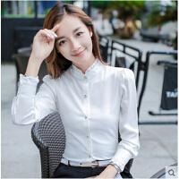 韩范衬衣白上衣长袖雪纺衫女立领新款修身职业OL打底衬衫  可礼品卡支付