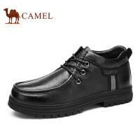 Camel 骆驼男靴 日常休闲系带皮靴 秋季新款圆头保暖靴子男