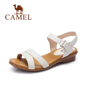Camel/骆驼女鞋 夏季新品平跟凉鞋 软面舒适魔术贴休闲平底凉鞋