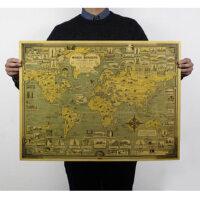 世界建筑地标地图 怀旧复古 牛皮纸海报 51.5x68cm
