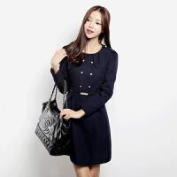 特尚莱菲 春装新款女装韩版优雅淑女长袖连衣裙【送腰带】LWQ3001