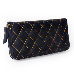 Yvonge韵歌牛皮菱格设计钱包女款钱夹真皮女士拉链钱包长款钱包手拿包手抓包