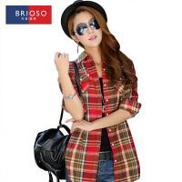 BRIOSO 2017春装新款 时尚韩版修身格调中长款女式格子衬衫 对格长袖衬衫 百搭衬衣 WECK001