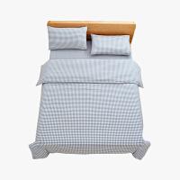 当当优品家纺 纯棉日式色织水洗棉床品 1.5米床 床笠四件套 格子钴蓝