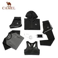 【领券满299-200】camel骆驼瑜伽女款针织五件套 运动外套T恤内衣短裤长裤