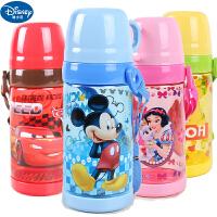 迪士尼米奇儿童水杯夏季防漏带盖直饮便携水杯塑料杯学生防漏背带杯 5849