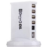 赛勒普 SLP-HUB10 USB分线器 HUB转换器集线器一拖十高速10口集线器HUB 白色 带电源适配器 可带动2T硬盘