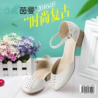 茵曼女鞋 2016夏新品凉鞋低跟平跟镂空一字式扣带凉鞋