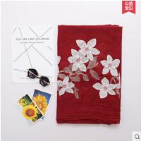 文艺丝巾女士 防晒韩版刺绣薄款长款海边度假百变披肩两用围巾