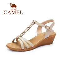 Camel/骆驼女鞋 新款凉鞋女夏 坡跟 中跟波西米亚女士鞋子