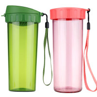 特百惠塑料水杯茶韵随心杯莹彩水杯对装2件套  500ml+430ml 可备注颜色