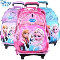 迪士尼冰雪奇缘公主儿童拉杆书包女小学生二轮1-3-6年级女童双肩书包可拆卸二用带防雨罩