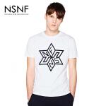 NSNF纯棉多边型图案植绒白色短袖T恤 2017年春夏新款