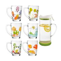 居元素 海洋世界玻璃水杯6件套可爱创意卡通杯家用水杯套装