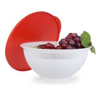 特百惠 多功能淘洗滤筛 塑料滤水洗菜篮淘米筛 水果盆2.1L