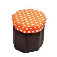 卡秀 收纳 圆点八角 储物凳 折叠收纳凳 百纳箱(橙色)JJJ109-10