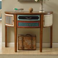 优梵艺术 美式半圆玄关桌/台 门厅玄关柜间厅柜隔断柜实木装饰柜