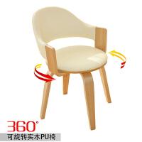 �满200-100�办公椅 电脑椅子 书房实木腿电脑转椅 带扶手 休闲欧式餐椅 木质腿旋转椅