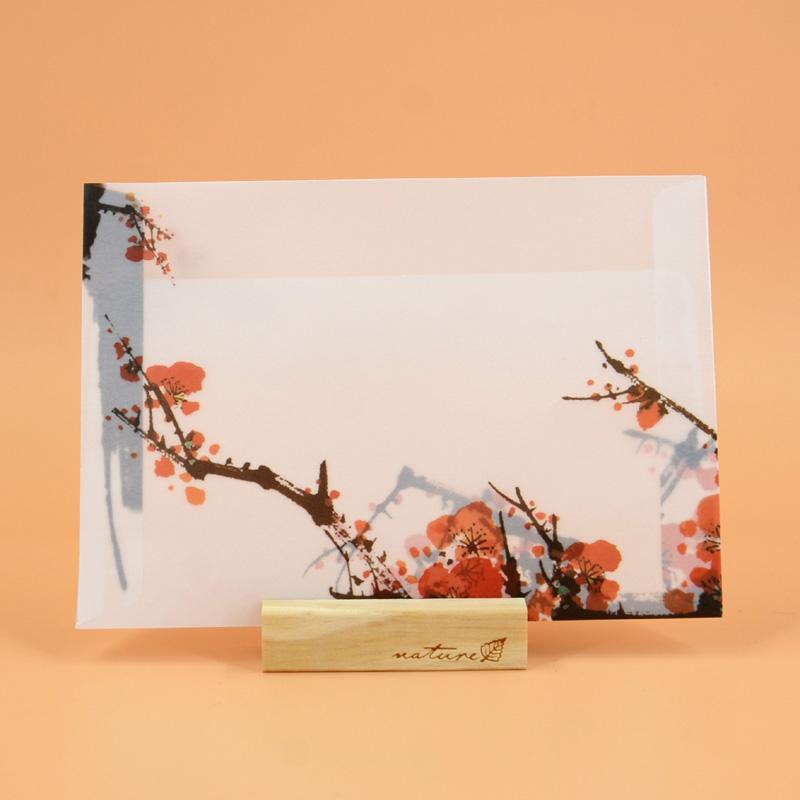 【复古浪漫半透明硫酸纸信封】中国风 古风青花瓷信封明信片贺卡_水墨