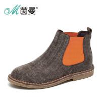茵曼女鞋马丁靴舒适低跟圆头休闲女靴短靴子