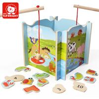 特宝儿宝宝木制拼图玩具 儿童益智力磁性钓鱼池组合套装1-2-3-6岁儿童玩具