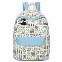 韩版小兔子背包初中高中双肩包女中学生帆布软妹卡通书包潮  AQ-9393#