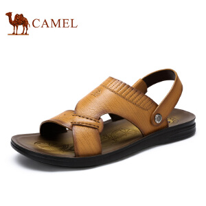 camel骆驼男鞋 夏季 时尚休闲头层牛皮凉拖两用沙滩鞋男