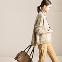 M358A 文艺宽松织花加厚高领套头毛衣女 2016新冬款【米可可】