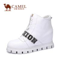 Camel/骆驼女鞋 休闲舒适 小牛皮圆头内增高侧拉链女靴冬新款