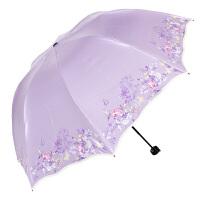 丝光绒黑胶丝印包波浪边33190E旅行铅笔伞波浪边女士旅游休闲晴雨太阳伞