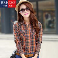 BRIOSO 春装新款 时尚韩版格子衬衫 纯棉女式长袖衬衫 百搭修身衬衣 WE3395