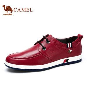 camel骆驼男鞋 春季新品 时尚休闲板鞋男 头层牛皮系带男鞋
