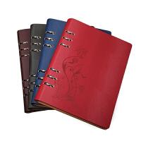潮流活页本A5创意日记本复古仿皮笔记本文具定制礼盒套装笔记本子,三件套礼盒 可订制 创意镂空活页