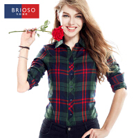 BRIOSO 春装新款女式磨毛长袖格子衬衫 韩版时尚修身出街百搭女士衬衣 大码女装 衬衣 WEMM004