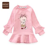 女宝宝短款连衣裙 BINPAW童装女童秋装全棉泡泡袖圆领T恤上衣裙