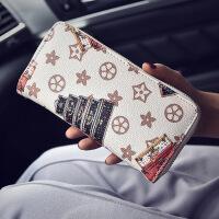 2017新款韩版女式长款单拉链印花手拿包零钱包  CY-8845