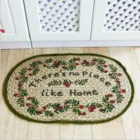 黄白麻手工编织地垫 客厅进门玄关入户门厅地垫脚垫